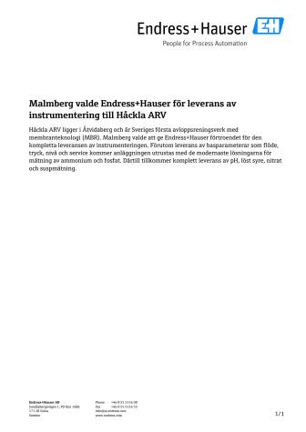 Malmberg valde Endress+Hauser instrumentering till Håckla ARV