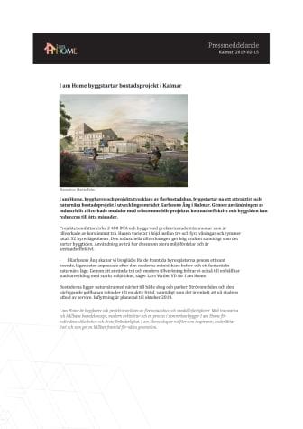 I am Home byggstartar bostadsprojekt i Kalmar