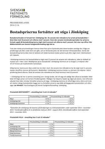 Bostadspriserna fortsätter att stiga i Jönköping