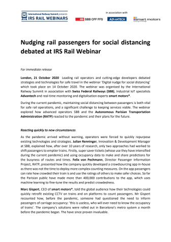 Nudging rail passengers for social distancing debated at IRS Rail Webinar