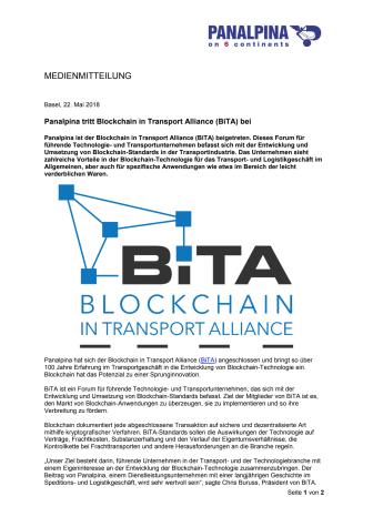 Panalpina tritt Blockchain in Transport Alliance (BiTA) bei