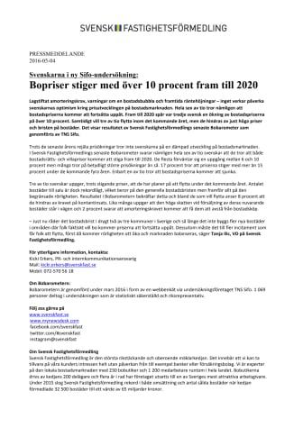 Svenskarna i ny Sifo-undersökning:  Bopriser stiger med över 10 procent fram till 2020