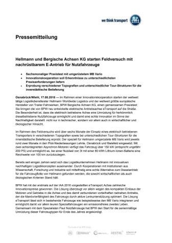 Hellmann und Bergische Achsen KG starten Feldversuch mit nachrüstbarem E-Antrieb für Nutzfahrzeuge