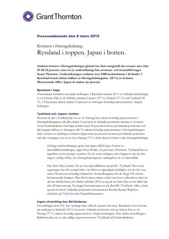 Kvinnor i företagsledning: Ryssland i toppen. Japan i botten.