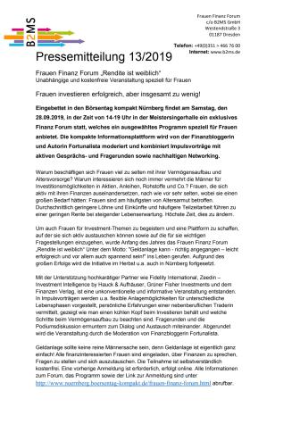 Geldanlage sollte keine reine Männersache sein! - Frauen Finanz Forum, 28.9. in Nürnberg
