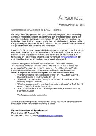 Stort intresse för Airsonett på EAACI i Istanbul