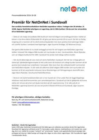 Premiär för NetOnNet i Sundsvall