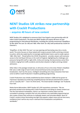 NENT Studios UK strikes new partnership with Crackit Productions  – acquires 40 hours of new content