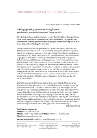 «Sich gegenseitig befeuern und ergänzen»: Goetheanum Leadership Course setzt Arbeit 2021 fort
