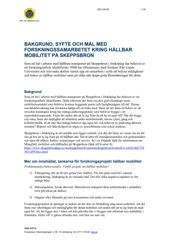 Bakgrund, syfte och mål med forskningssamarbetet kring hållbar mobilitet på Skeppsbron