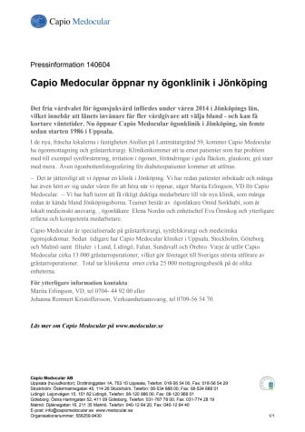 Capio Medocular öppnar ny ögonklinik i Jönköping