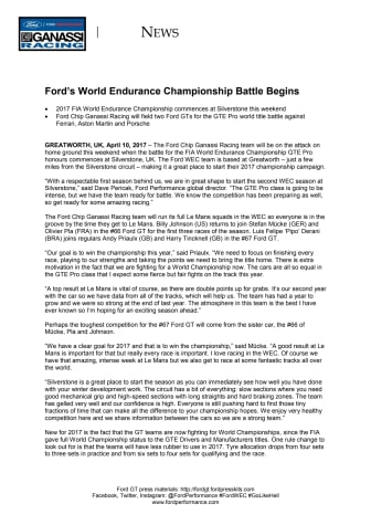 MOTORSPORT: Ford's World Endurance Championship Battle Begins
