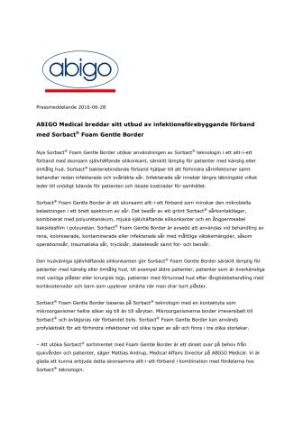 ABIGO Medical breddar sitt utbud av infektionsförebyggande förband med Sorbact® Foam Gentle Border