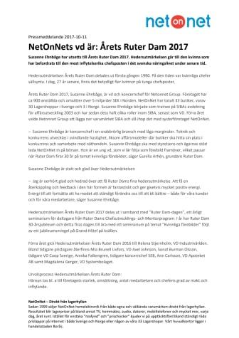 NetOnNets vd är: Årets Ruter Dam 2017