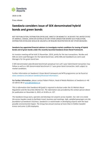 Swedavia considers issue of SEK denominated hybrid bonds and green bonds