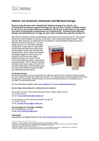 Vitamin- och proteinrik vinterboost med Meritene Energis