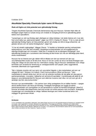 AkzoNobel Specialty Chemicals byter namn till Nouryon