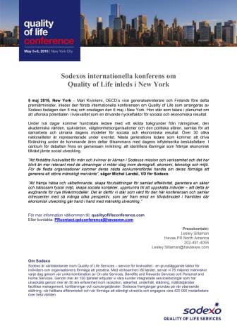 Sodexos internationella konferens om Quality of Life inleds i New York