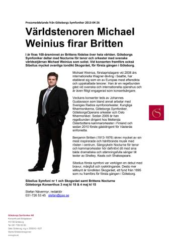 Världstenoren Michael Weinius firar Britten