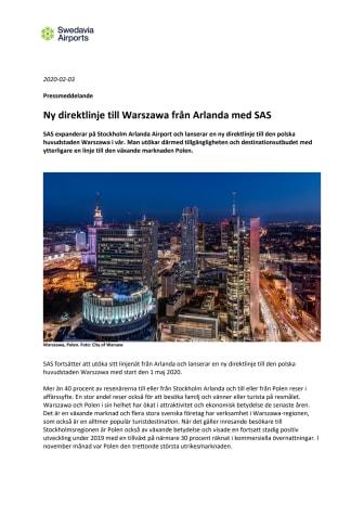 Ny direktlinje till Warszawa från Arlanda med SAS