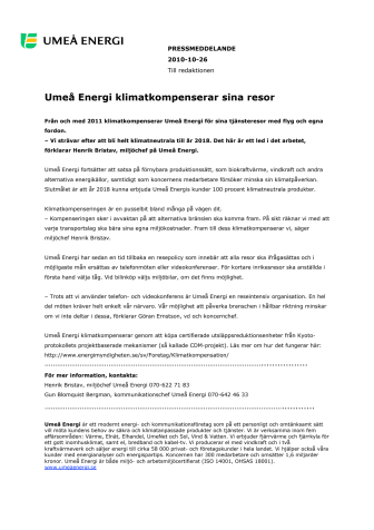 Umeå Energi klimatkompenserar sina resor