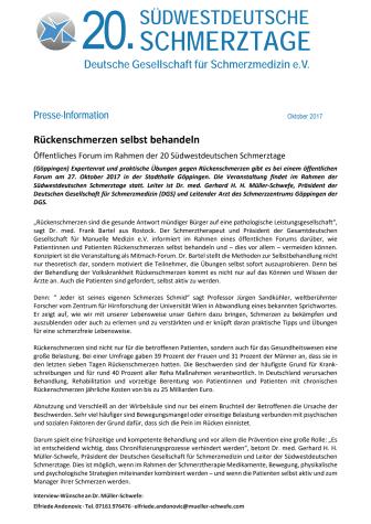 Pressemitteilung zum Patientenforum 2017 anlässlicher der 20. Südwestdeutschen Schmerztage