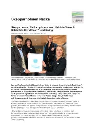 Skepparholmen Nacka optimerar med Hybridmöten och Safehotels CovidClean™-certifiering