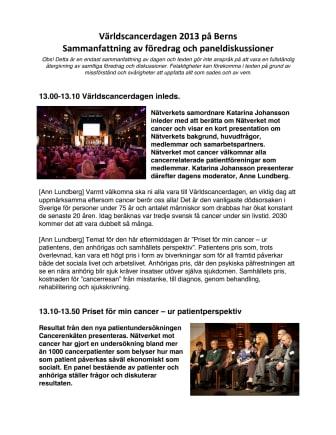 Sammanfattning av Världscancerdagen 4 februari 2013 - del 1