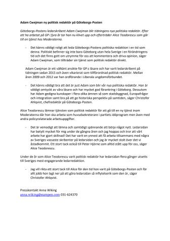 Adam Cwejman ny politisk redaktör på Göteborgs-Posten