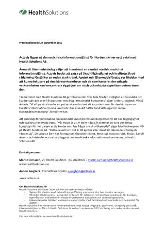 Actavis lägger ut sin medicinska informationstjänst för Norden, skriver nytt avtal med Health Solutions AB.
