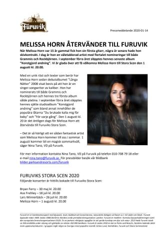 Melissa Horn återvänder till Furuvik