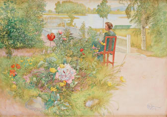 """Carl Larsson, """"Sommar i Sundborn"""" / """"Flicka i trädgård"""". Utrop 3 000 000 - 3 500 000 SEK."""