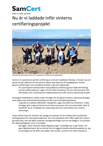 Nu är vi laddade inför vinterns certifieringsprojekt