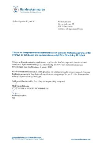 Brev: Sydsvenska handelskammaren JK-anmäler om elpriserna