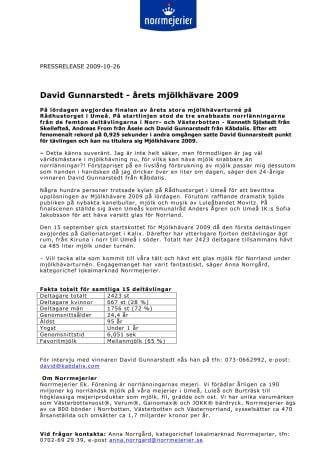 David Gunnarstedt - årets mjölkhävare 2009