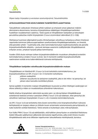 TAL ohje: Jatkuvuusperiaatteen soveltuminen tilinpäätöstä laadittaessa