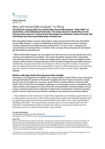 Miris sell Human Milk Analyzer™ in Africa