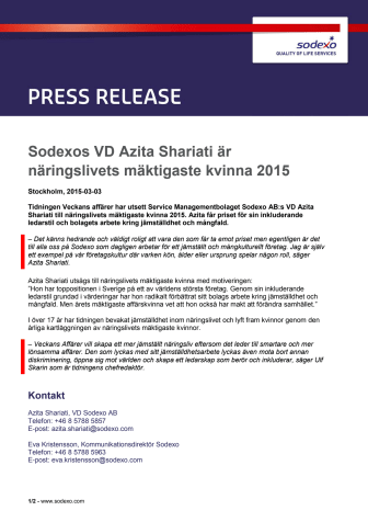Sodexos VD Azita Shariati är näringslivets mäktigaste kvinna 2015