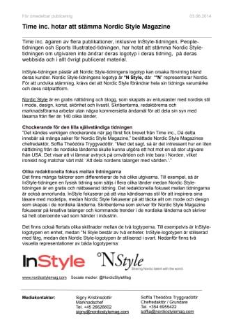 Time inc. hotar att stämma Nordic Style Magazine