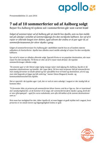 7 ud af 10 sommerferier ud af Aalborg solgt