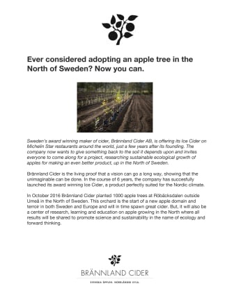 Ever considered adopting an apple tree in the North of Sweden? Now you can.