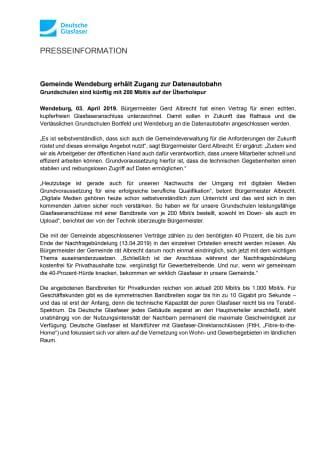 Gemeinde Wendeburg erhält Zugang zur Datenautobahn