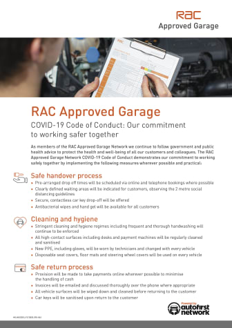RAC Approved Garages: COVID-19 Code of Conduct