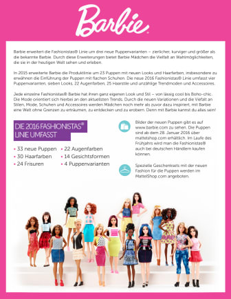 Barbie Fashionistas Factsheet