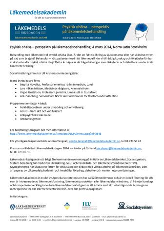 Läkemedelsriksdagen 2014 Psykisk ohälsa - perspektiv på läkemedelsbehandling