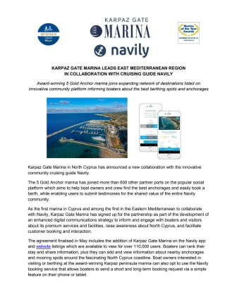 Karpaz Gate Marina Leads East Mediterranean Region in Collaboration with Cruising Guide Navily
