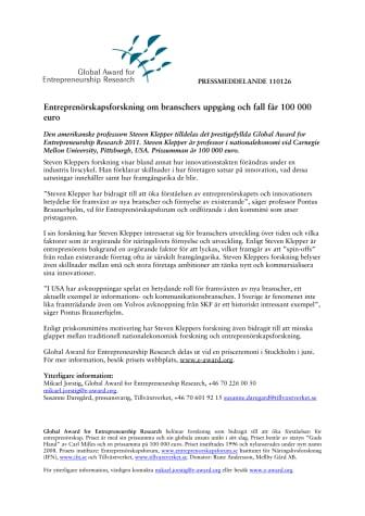 Entreprenörskapsforskning om branschers uppgång och fall får 100 000 euro