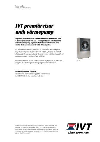 IVT premiärvisar unik värmepump