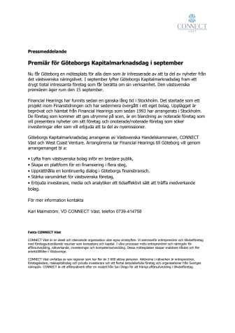 Premiär för Göteborgs Kapitalmarknadsdag i september