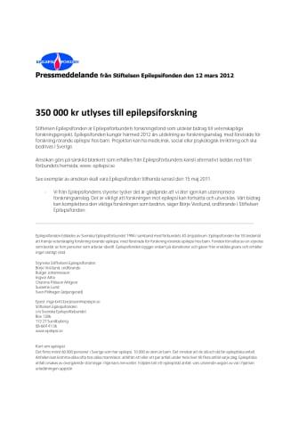 350 000 kr utlyses till epilepsiforskning